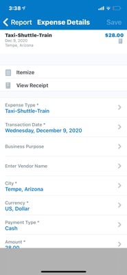 This is the view of a single expense line item in the Mobile app.