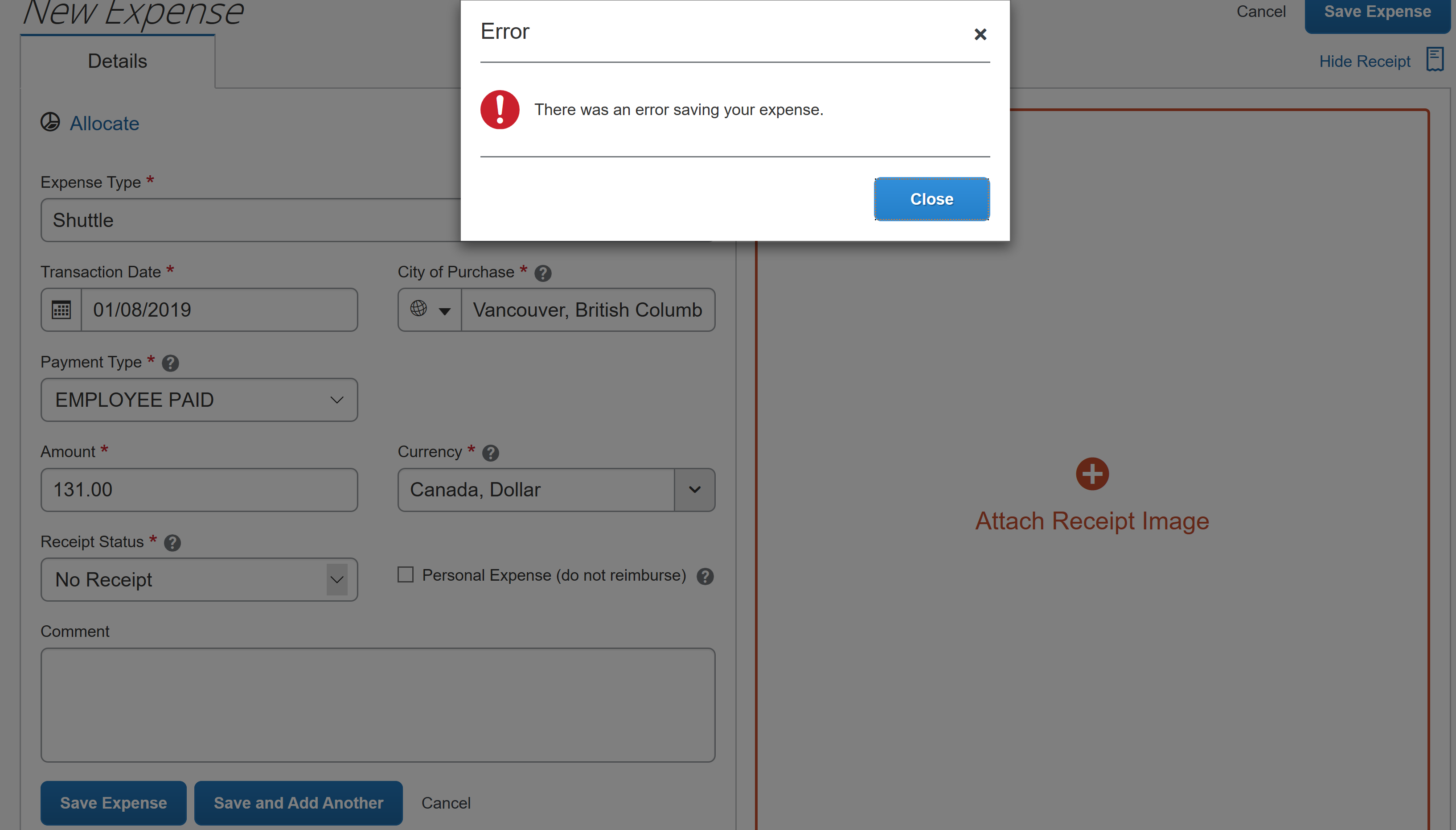 Receipt images/files not uploading/saving in app n    - SAP